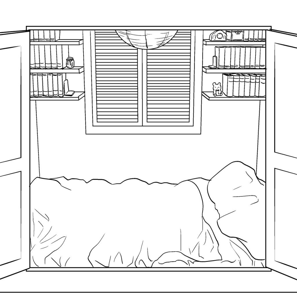 小部屋ベッド線画
